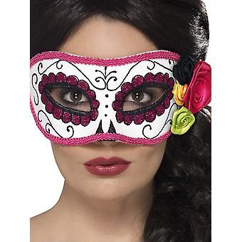 Dag van de dode Eyemask, wit/roze