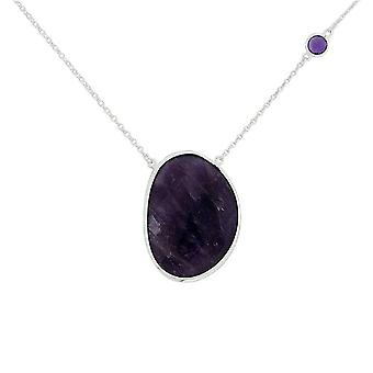 TOC Sterling Silver Ovoid Amethyst Pendant Necklace 16+1