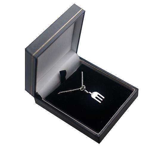 Silver 24x9mm solid Gardeners Fork Pendant with a rolo Chain 18 inches