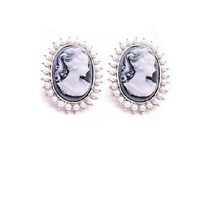 Find Beautiful Jewelry Gift Mother & Girl Friend Cameo Pearls Earrings