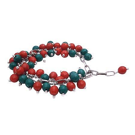 Christmas Gift Red & Green Cluster Bracelet Gorgeous Handmade Creation