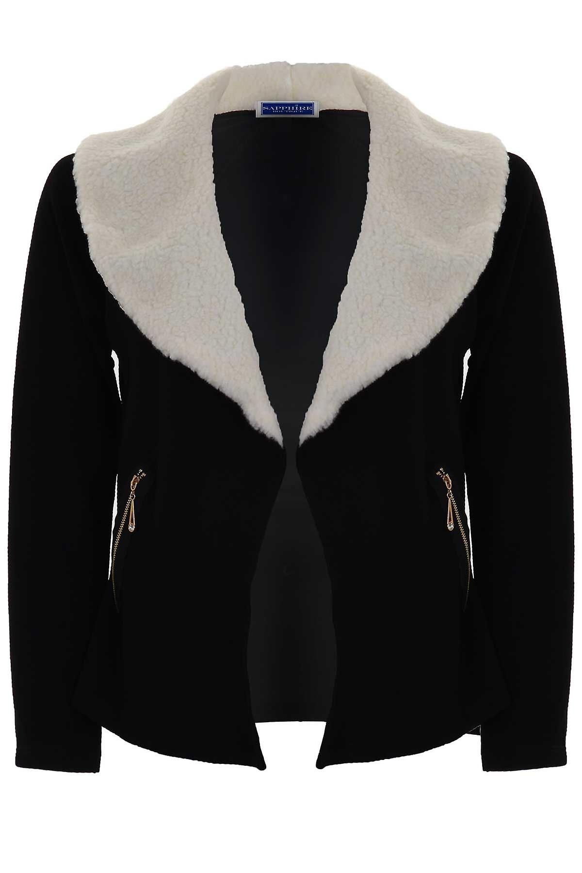 Ladies Faux Wool Fur Collar Textured Open Front Women's High Low Blazer Jacket