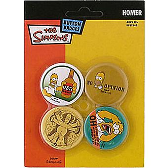 Simpsons Homer 4 Pin emblem i Pack (mm)