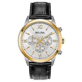 Bulova Women's Black Leather Chronograph 98A218 Watch