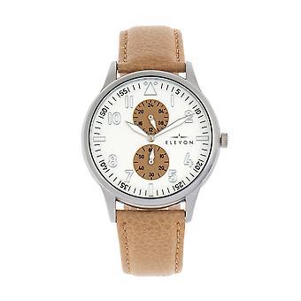 Elevon Turbine Leather-Band Watch - Silver/Khaki