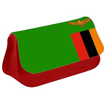 Zambia Flag Printed Design Pencil Case for Stationary/Cosmetic - 0196 (Red) by i-Tronixs