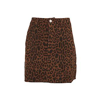 Girls On Film Womens/Ladies Ronnie Leopard Denim Skirt