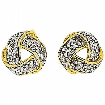 TOC Sterling Silver Goldtone Knot Stud Earrings