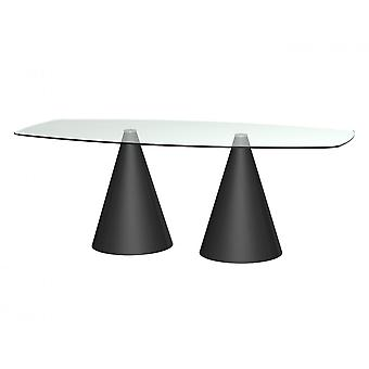 Gillmore Space Rectangular Clear Glass Dining Table With Conical Black Base