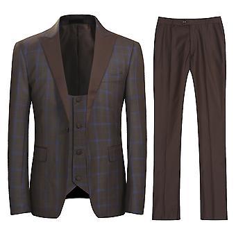 Allthemen Men's Plaid Suit 3 Pieces (Blazer + trousers + vest)