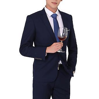 Allthemen Men's 2-Piece Suits Solid Business Blazer&Pants