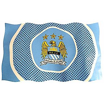 Manchester City FC Bullseye Design large licensed nylon flag 1500mm x 900mm   (bb)