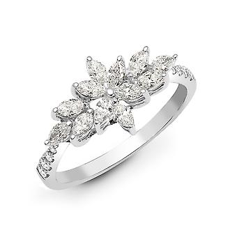 Jewelco London solide 18ct Weißgold Kralle Set Marquise G SI1 0,66 ct Diamant Starburst Cluster Ring 9mm