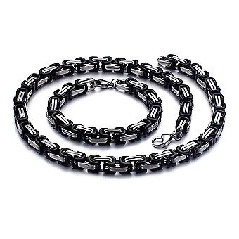 5mm Royal Chain Bracelet mannen ketting mannen Chain ketting, 19 cm zilver/zwart roestvrijstalen kettingen