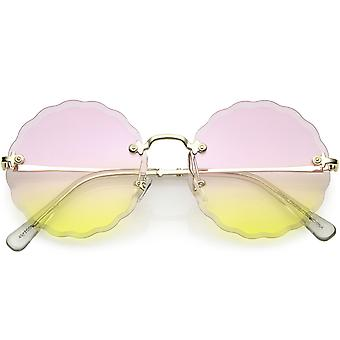 Women's Modern Round Rimless Floral Frame Gradient Colored Lenses 60mm