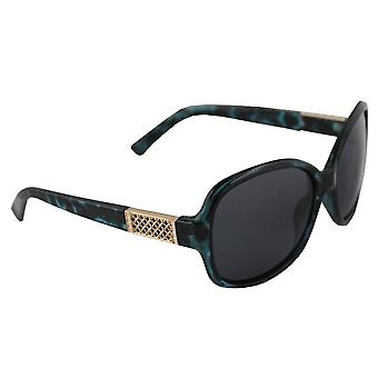 Sunglasses oval polarizing Glass Gold green FREE BrillenkokerS324_4