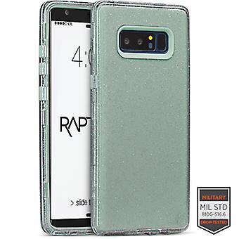 SS Note 8 - Rapture Clear Silver Glitter/Aquamarine
