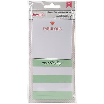 Designer Desktop Essentials Sticky Note Pads 2/Pkg-Fabulous, Approx. 100 Per Pad 370796