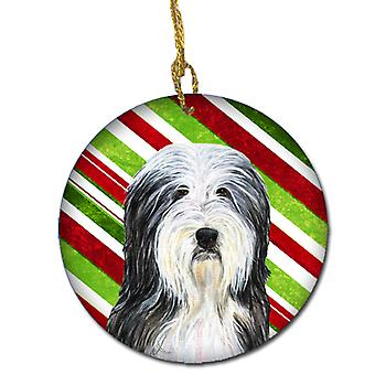 Bearded Collie Candy Cane Holiday Christmas Ceramic Ornament SS4566