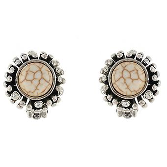 Clip On Earrings Store Silver & Marble Ivory Round Button Clip on Earrings