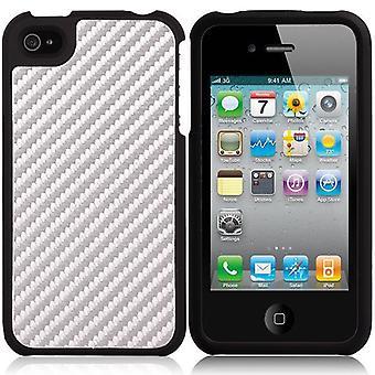 Plasthölje med kolfiber iPhone 4/4S (silver + svart)