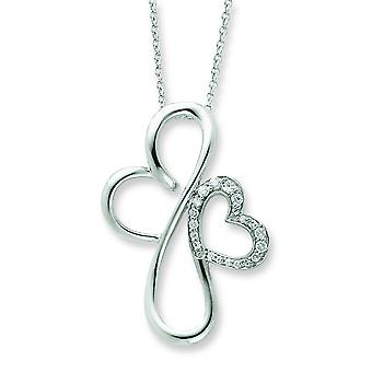 Sterling Silver Cubic Zirconia Necklace - 18 Inch