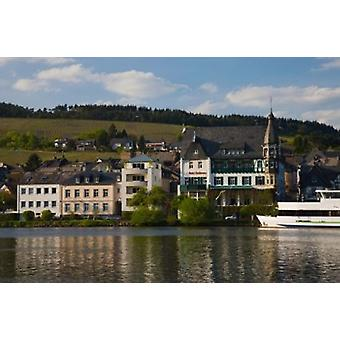 Houses at the waterfront Traben-Trarbach Bernkastel-Wittlich Rhineland-Palatinate Germany Poster Print by Panoramic Images (36 x 24)