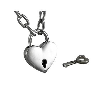 Chrome Finished Heart Padlock Pendant Choker Necklace W/ Key