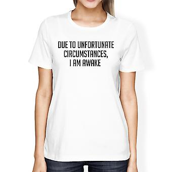 Unfortunate Circumstances Girls White Tops Funny Typographic Tee