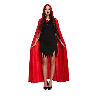 Halloween Red Adult Velvet Cape With Hood Fancy Dress Accessory