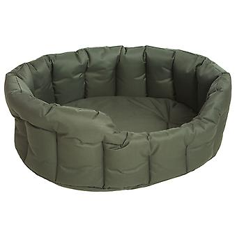 Country Dog Heavy Duty Waterproof Oval Drop Front Softee Bed Green Size 4 61x51x22cm