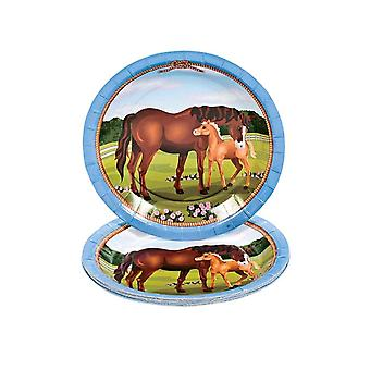 8 Small Mare and Foal Horse Paper Plates | Disposable Paper Party Plates