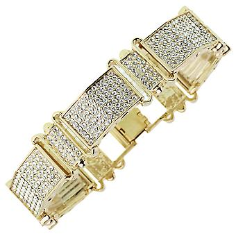 Iced out bling bracelet - gold cubic zirconia LABEL