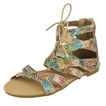Girls Spot On Flat Strappy Lace Up Sandal H0221