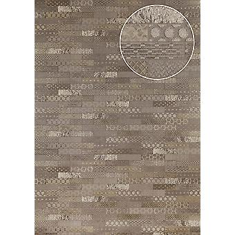 Ethnic wallpaper Atlas ICO-5705-2 non-woven wallpaper smooth with tiling shimmering grey silver Brown 7,035 m2