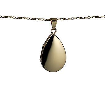 9ct Gold 30x20mm schlicht Teardrop Medaillon mit einem Belcher Kette 24 Zoll