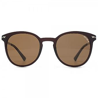 Police Keyhole Round Sunglasses In Matte Brown Polarised