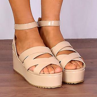 Shoe Closet Nude Flatforms - Ladies WB1 Nude Patent Wedged Platforms Strappy Sandals Wedges Flatforms