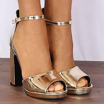 Shoe Closet Gold Metallic Heels - Ladies Lila3 Gold Metallic Barely There Platforms Peep Toes Strappy Sandals High Heels