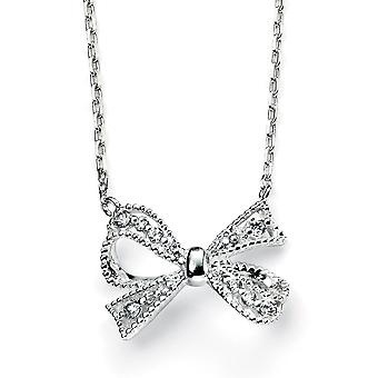 925 Silver Bow Knot Zirconium Trend Necklace