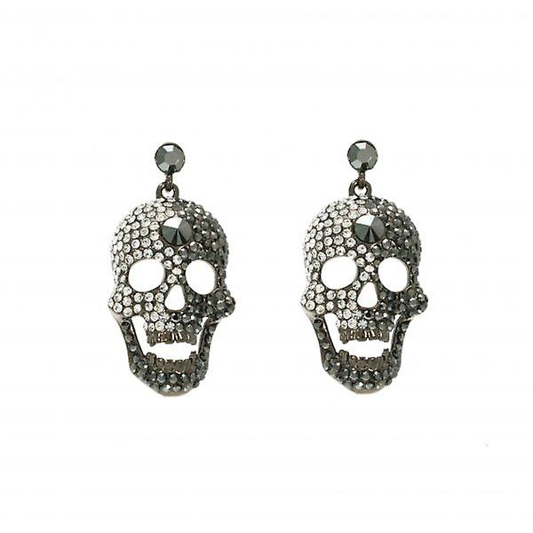 W.A.T Big Swarovski Crystal Skull Earrings
