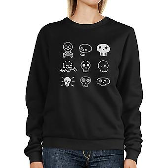 Skulls Sweatshirt Black Funny Halloween Pullover Crewneck Unisex