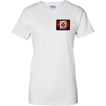 Kanada Grunge Grunge efekt flaga - Maple Leaf - Panie piersi Design T-Shirt