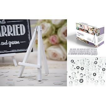 Easelia BLANC - 2020pcs Kit with 20 White Wooden Mini Table Easels 6 Inch + FREE 2000pcs Clear Wedding Table Scatter Diamond Crystals - for Wedding Place Menu Card Board Holders and Craft Projects.