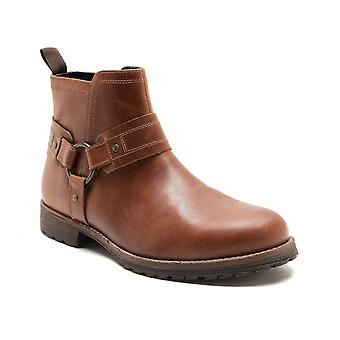 Red Tape Bradley Men's Wood Brown Leather Brogue Worker Boots