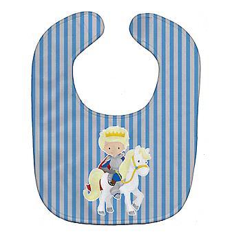 Carolines skarby BB8749BIB Blondynka chłopiec księcia na koniu Baby Bib