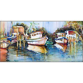 Shrimp Boats at Fly Creek Indoor or Outdoor Runner Mat 28x58