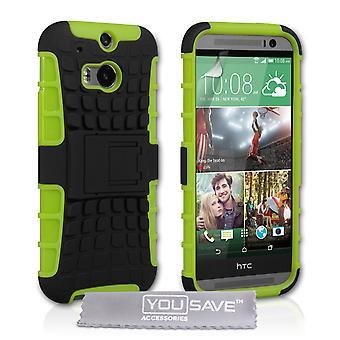 HTC en M8 stå Combo Case - grønn-svart
