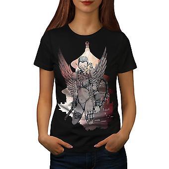 Cyborg Warrior Fantasy Women BlackT-shirt | Wellcoda