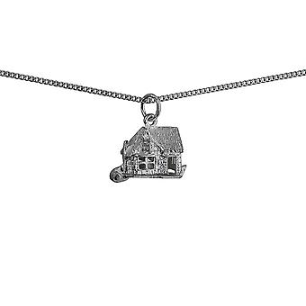 Silver 10x13mm moveable Pub Pendant with a curb Chain 24 inches